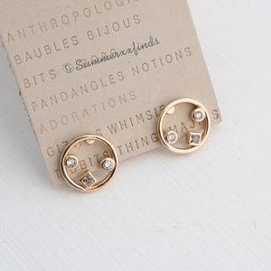 Anthropologie Mini Crystal Circle Post Earrings